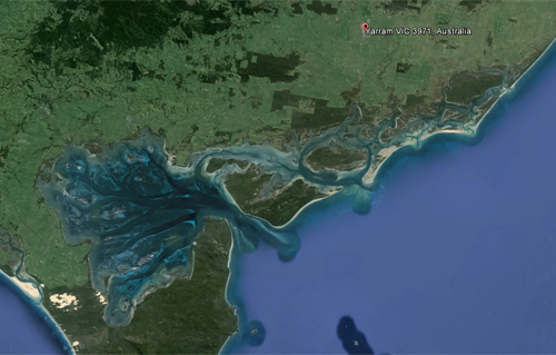 The Corner Inlet Ramsar site, Image courtesy of Google Earth accessed 7th February 2014.