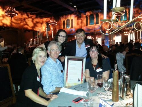 Members of the Project Team celebrate the award. From left: Michelle Dickson (Natural Decisions), Stephen Farrell (SV), Danielle Cherubin (SV), Glen Cockerton (SV), Emmaline Froggat (PPWPCMA).
